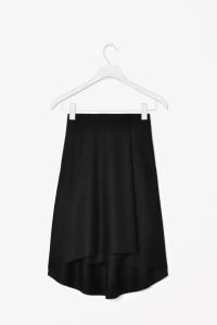 Cos black Wool cashmere fold skirt