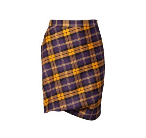Vivenne-westwood-taxi yellow and plum tartan skirt