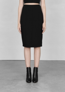 &Other Stories Black midi skirt