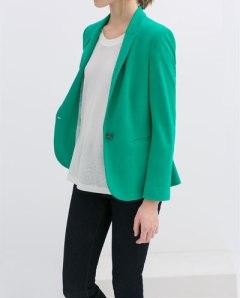 Zara buttoned blazer mint green