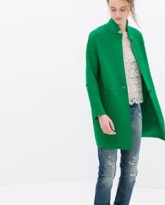Zara wool coat green
