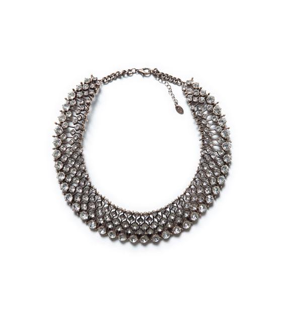 Zara sparkly crystal bead necklace