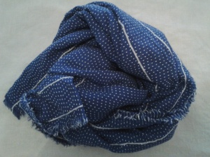 Zara blue and white cotton scarf