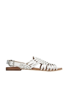 Faith White Flat Weave Sandals