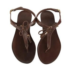 Moda in pelle Tassle-thong-flat-sandal