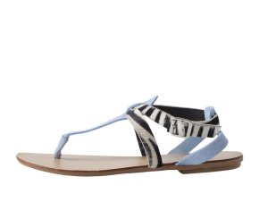 Pieces BLUE SUEDE ZEBRA SANDALS Faded Blue