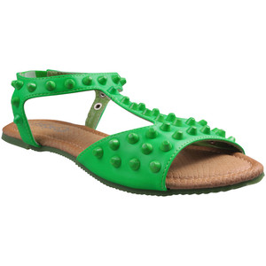 Refresh by Beston Women's 'Yotis' Flat T-strap Sandals green