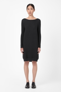 COS RAISED STRIPE WOOL DRESS black