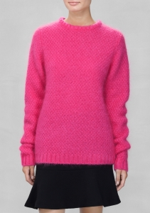 &Other Stories fuzzy sweater bright pink
