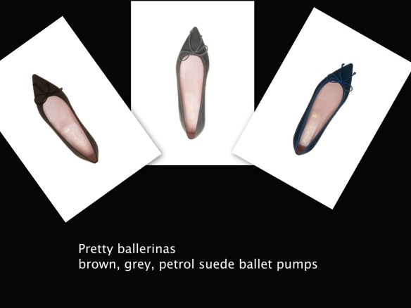 Pretty ballerinas brown, grey, petrol suede ballet pumps