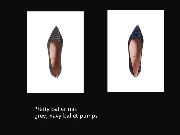 Pretty ballerinas grey, navy ballet pumps