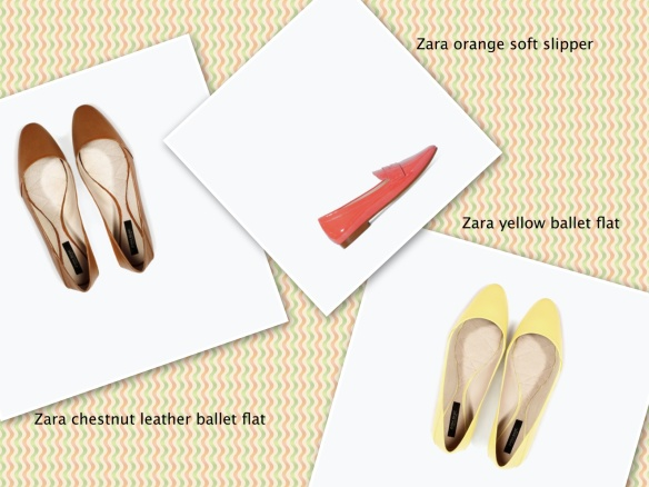 Zara chestnut, orange, yellow ballet pumps
