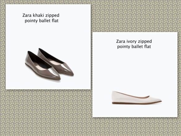 Zara khaki, ivory ballet pump