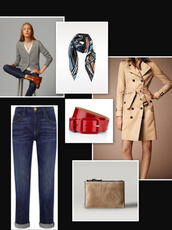 Boyfriend jeans dark, trench, grey sweater
