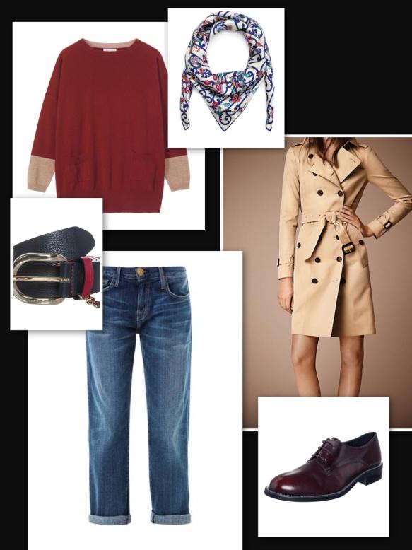 Boyfriend jeans, trench, burgundy and beige sweater