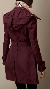 Burberry claret HOODED TAFFETA TRENCH COAT
