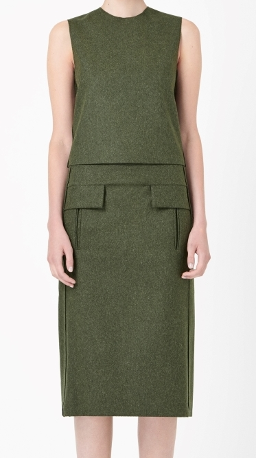 COS sleeveless wool top and wool skirt