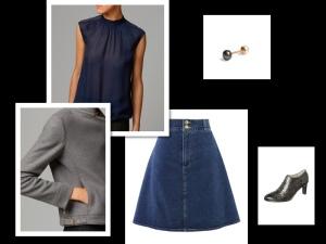 denim skirt + grey