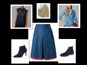 Denim skirt red + navy boots