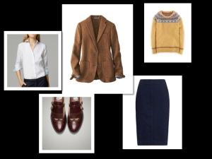 Denim skirt + tweed jacket