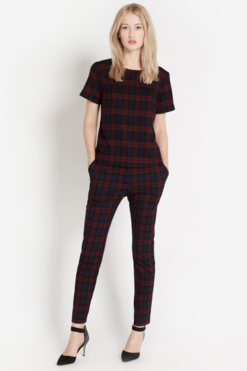 Oasis claret check top and trousers