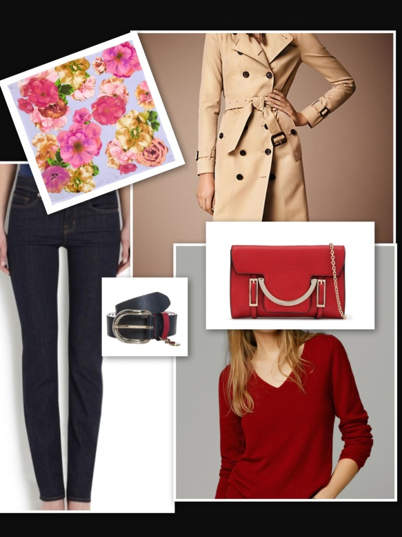 skinny jeans, trench and flower silk square