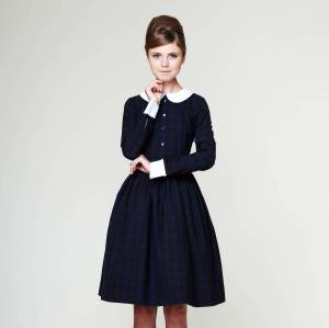 Liana Woolen Tartan Dress With Pleated Skirt by MRS POMERANZ