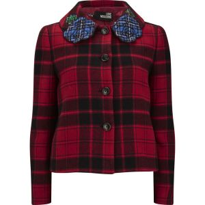 LOVE MOSCHINO women's tartan wool jacket - red check