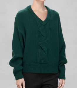 & Other Stories CABLE KNIT SWEATER dark green