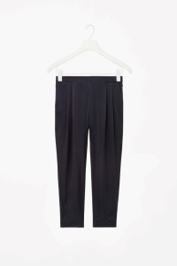 COS PLEATED SILK TROUSERS black