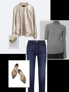Sequin jacket with jeans