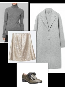 Sequin skirt and grey sweater