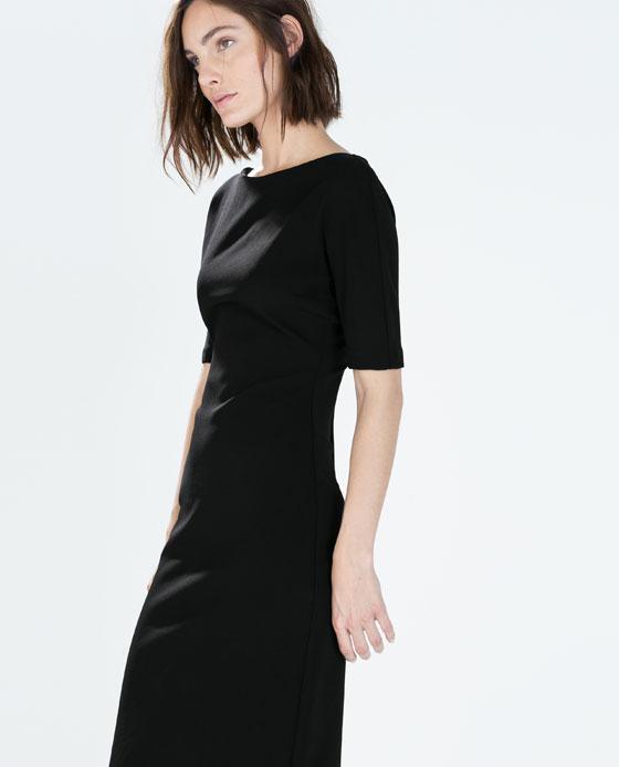 ba122403 Zara Boat neck printed dress black | Style Point of View Blog