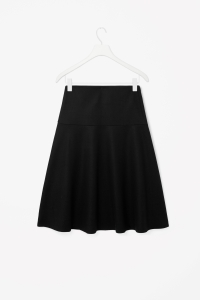 COS FLARED PANEL WOOL SKIRT black