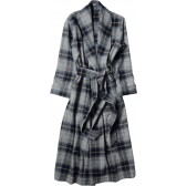 Margaret Howell DRESSING GOWN SOFT PLAID WOOL NAVY:GREY