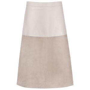 Reiss Hayden Textured Leather Skirt, Neutral