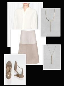 Suede beige skirt:white shirt:beige shoes