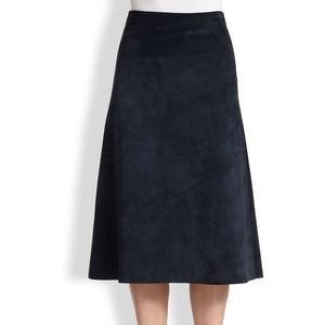 Theory Janheem suede A-line skirt black