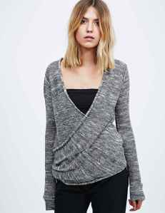 Urban Outfitters Free People Gotham Wrap Jumper in Grey