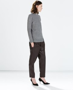 Zara Leather effect trousers in wine