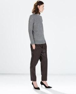 Zara Leather effect trousers in wine