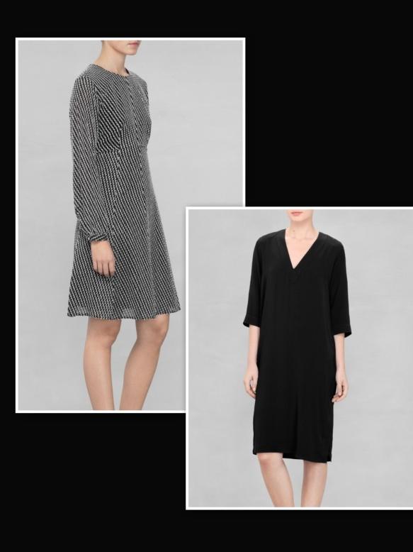 Black dress over black and white dress