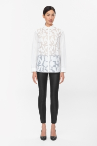 COS TEXTURED PATTERN SHIRT white