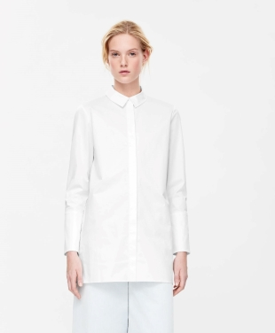COS WIDE-CUFF COTTON SHIRT white
