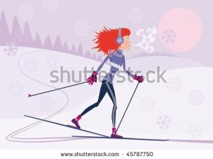 stock-vector-red-haired-girl-on-the-cross-country-skiing-45787750