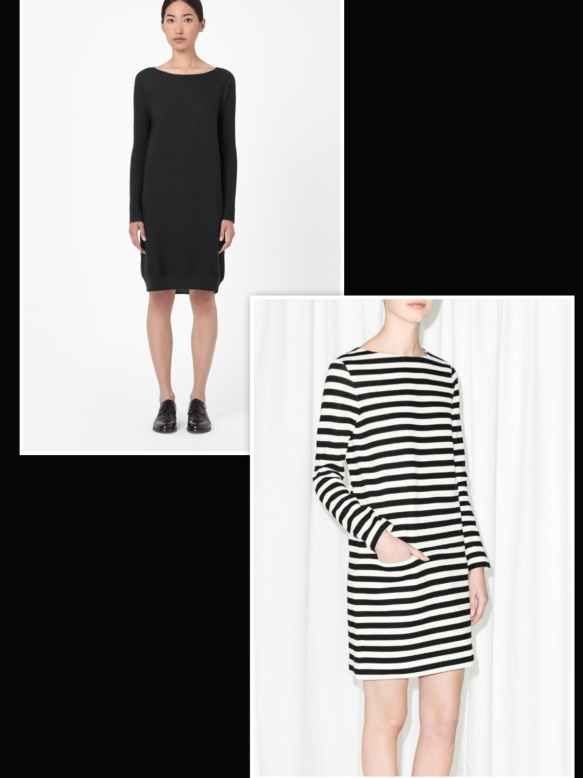 Stripes dress over black dress