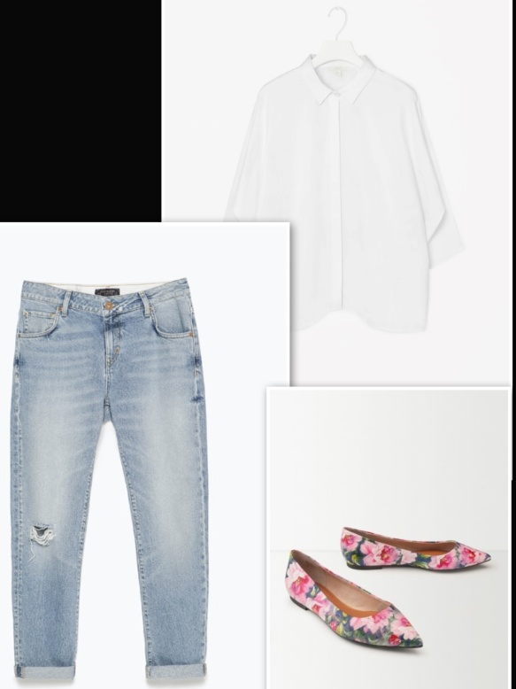 bright flowery ballerina, jeans and white shirt