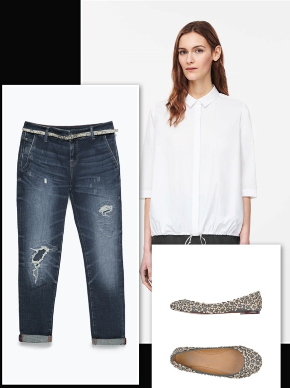flower appliquè ballerina, jeans and white shirt
