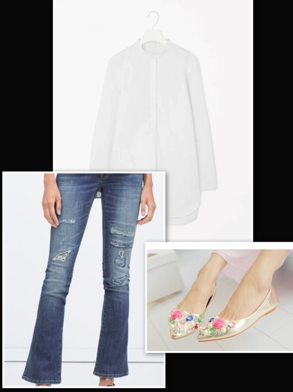 flower jewels ballerina, jeans and white shirt