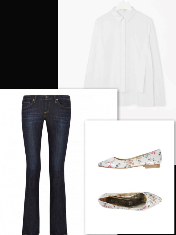 flowery white ballerina, jeans and white shirt